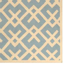 Safavieh Handwoven Moroccan Reversible Dhurrie Crisscross-pattern Light Blue/ Ivory Wool Rug (9' x 1 - Thumbnail 1