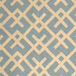 Safavieh Handwoven Moroccan Reversible Dhurrie Crisscross-pattern Light Blue/ Ivory Wool Rug (9' x 1 - Thumbnail 2