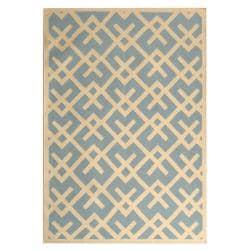 Safavieh Handwoven Moroccan Reversible Dhurrie Crisscross-pattern Light Blue/ Ivory Wool Rug (9' x 12')