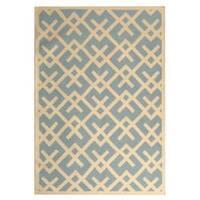 Safavieh Handwoven Moroccan Reversible Dhurrie Crisscross-pattern Light Blue/ Ivory Wool Rug - 9' x 12'