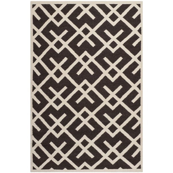 Safavieh Handwoven Moroccan Reversible Dhurrie Chocolate/ Ivory Wool Area Rug - 10' x 14'