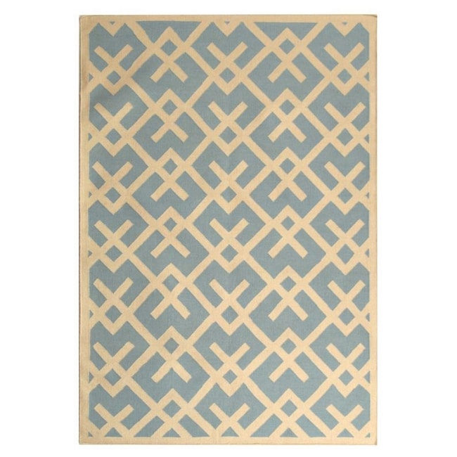 Safavieh Hand-woven Moroccan Reversible Dhurrie Light Blue/ Ivory Wool Rug (10' x 14')