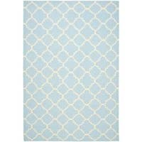 Safavieh Hand-woven Moroccan Reversible Dhurrie Light Blue/ Ivory Wool Rug (8' x 10')
