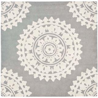 Safavieh Handmade Soho Chrono Grey/ Ivory New Zealand Wool Rug (8' Square)