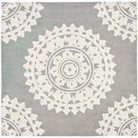 Safavieh Handmade Soho Chrono Grey/ Ivory New Zealand Wool Rug (8' Square) - 8' x 8'