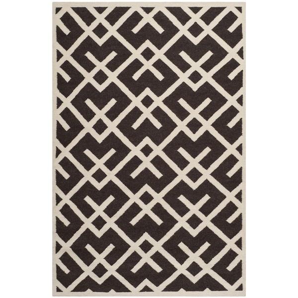 Safavieh Hand-woven Moroccan Reversible Dhurrie Chocolate/ Ivory Wool Rug (5' x 8')