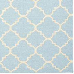 Safavieh Moroccan Light Blue/Ivory Reversible Dhurrie Transitional Wool Rug (10' x 14') - Thumbnail 1