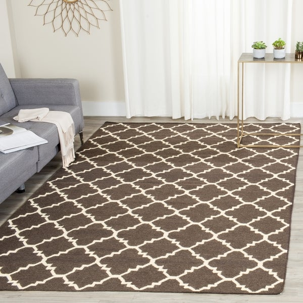 Safavieh Hand-woven Moroccan Reversible Dhurrie Brown/ Ivory Wool Rug (6' Square)