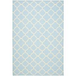 Safavieh Hand-woven Moroccan Reversible Dhurrie Light Blue/ Ivory Wool Rug (5' x 8')