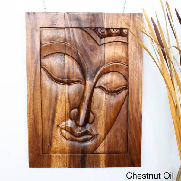 Handmade Wood Panel 'Serene Buddha' Carving (Thailand)