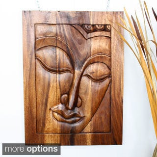 Wood Panel 'Serene Buddha' Carving (Thailand)