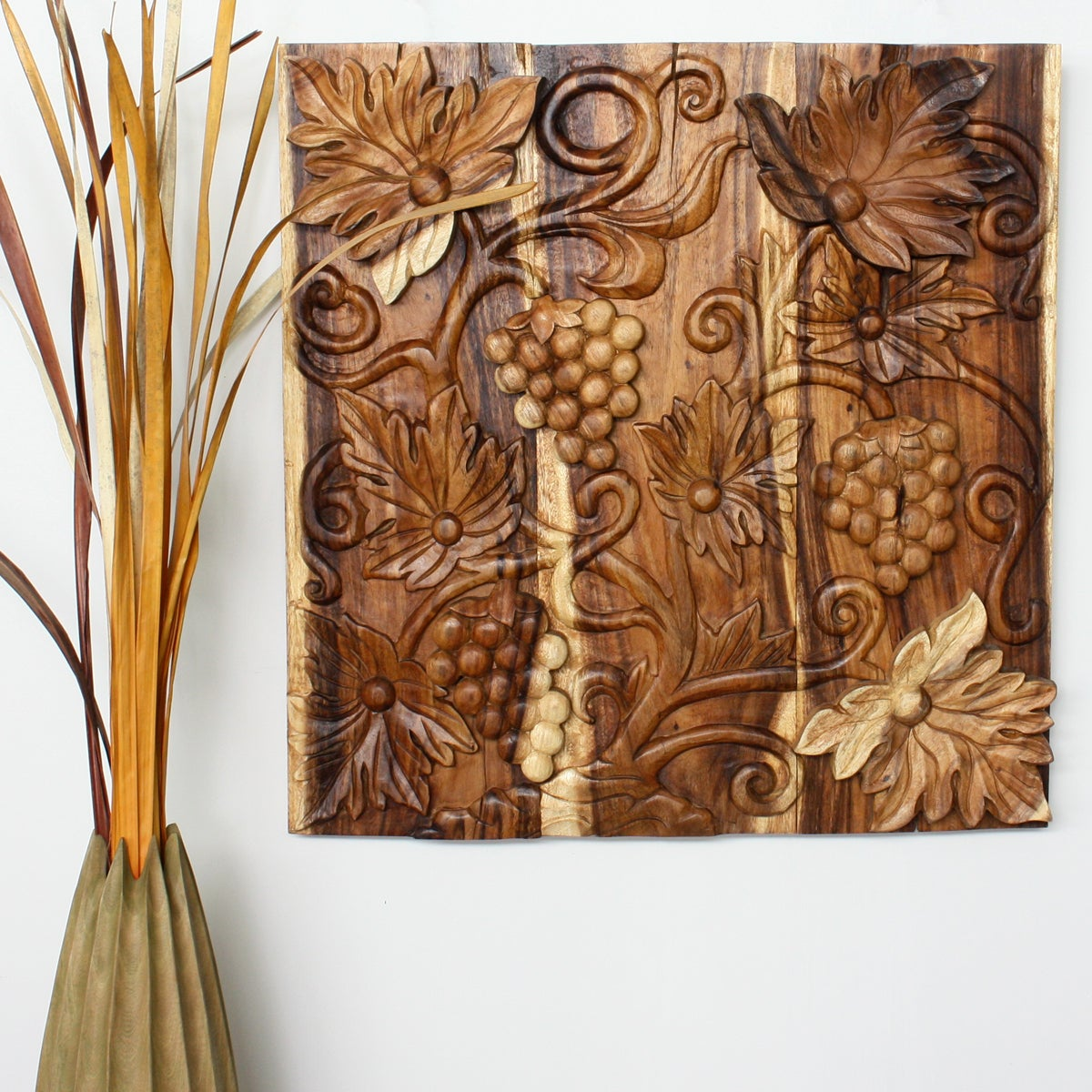 Handmade Livos Plant Oil Wood 'Grapes' Carved Wall Panel ...