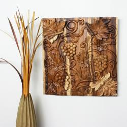 Livos Plant Oil Wood 'Grapes' Carved Wall Panel (Thailand)