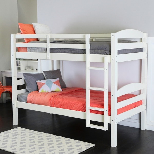 Twin Over Twin Solid Wood White Bunk Bed Free Shipping Today
