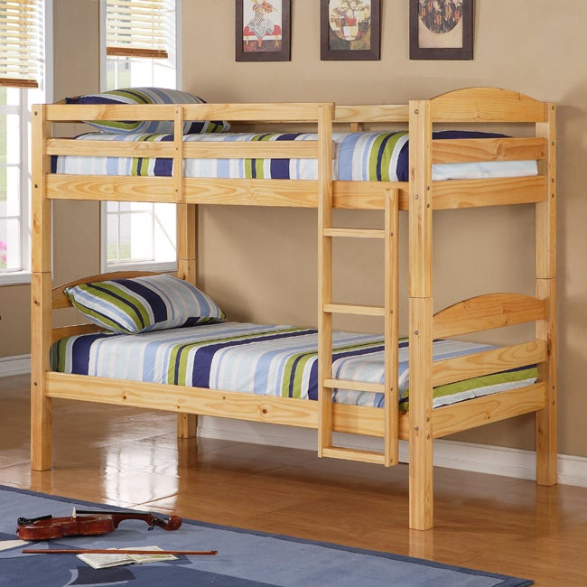 Twin Over Twin Solid Wood Natural Bunk Bed - 13988605 - Overstock.com ...
