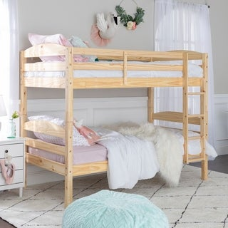 twin over twin solid natural wood bunk bed