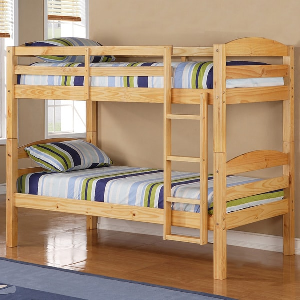 Shop Twin Over Twin Solid Natural Wood Bunk Bed Free