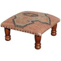 Handmade Kilim Square Footstool Ottoman (India)