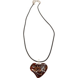 Premium Red Dichroic Glass Heart Necklaces (Case of 252)