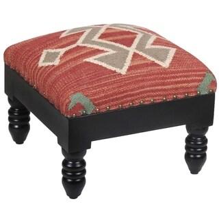 Herat Oriental Handmade Kilim Square Footstool Ottoman (India)