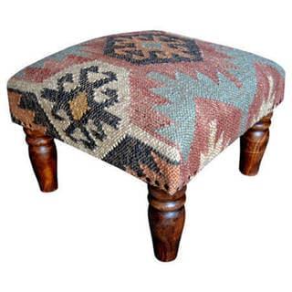 Herat Oriental Handmade Kilim Footstool Ottoman (India)