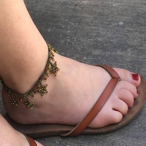 Handmade Beaded Star Foliage Anklet (Guatemala)