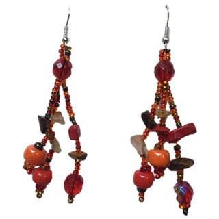 Handmade Luzy Autumn Glass Bead Earrings (Guatemala)