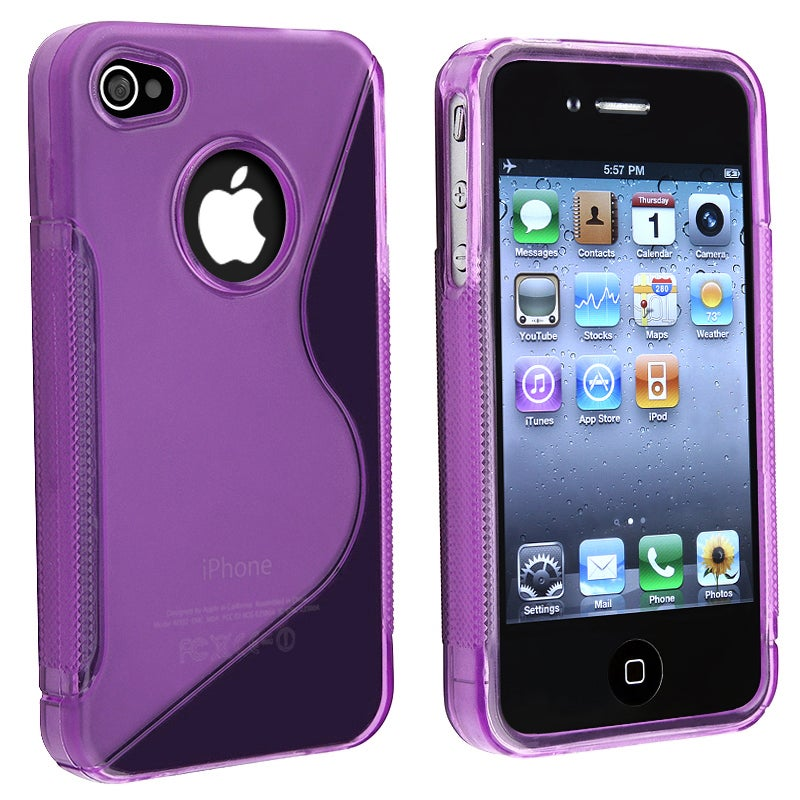 INSTEN AccStation Clear Dark Purple S-shape TPU Skin Phone Case Cover for Apple iPhone 4 - Thumbnail 0