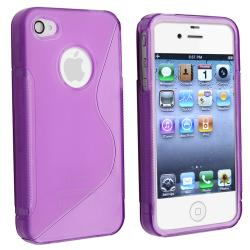 INSTEN AccStation Clear Dark Purple S-shape TPU Skin Phone Case Cover for Apple iPhone 4 - Thumbnail 1