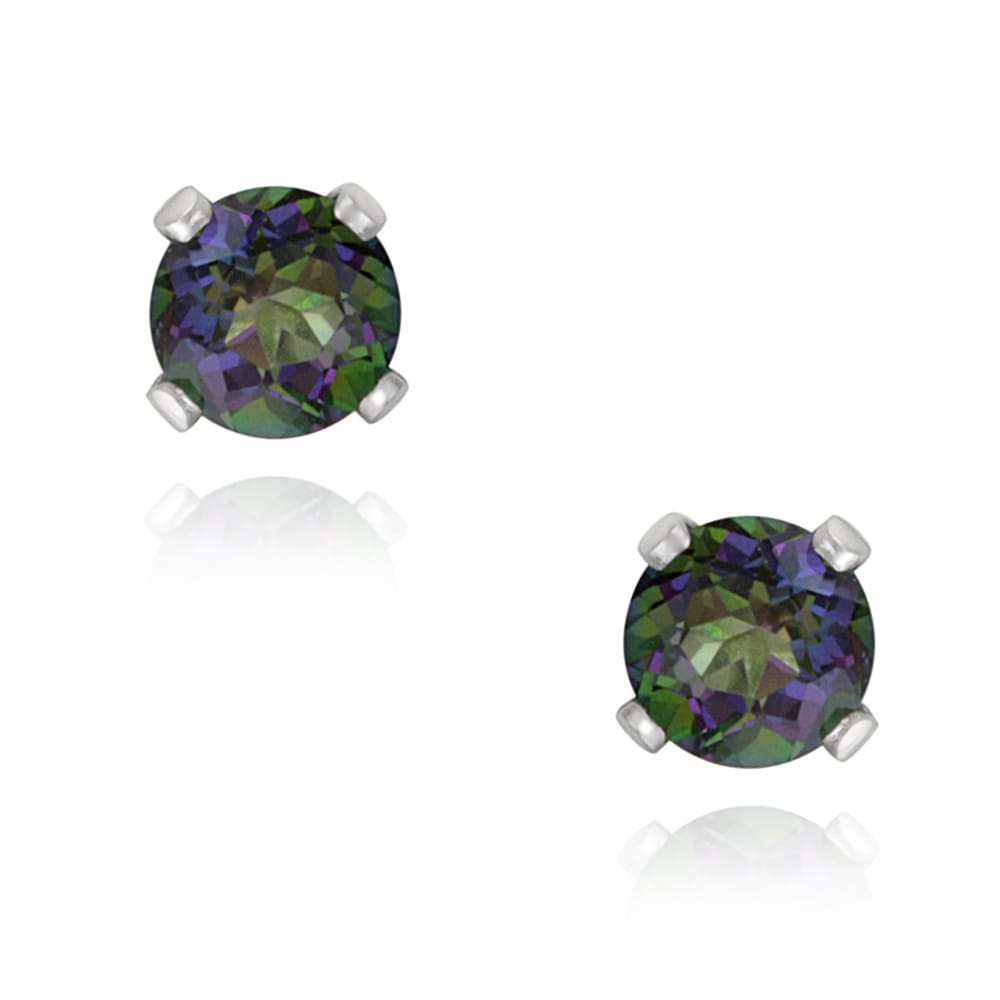 Glitzy Rocks Sterling Silver 5 8ct Tgw 4mm Green Mystic Topaz Stud Earrings
