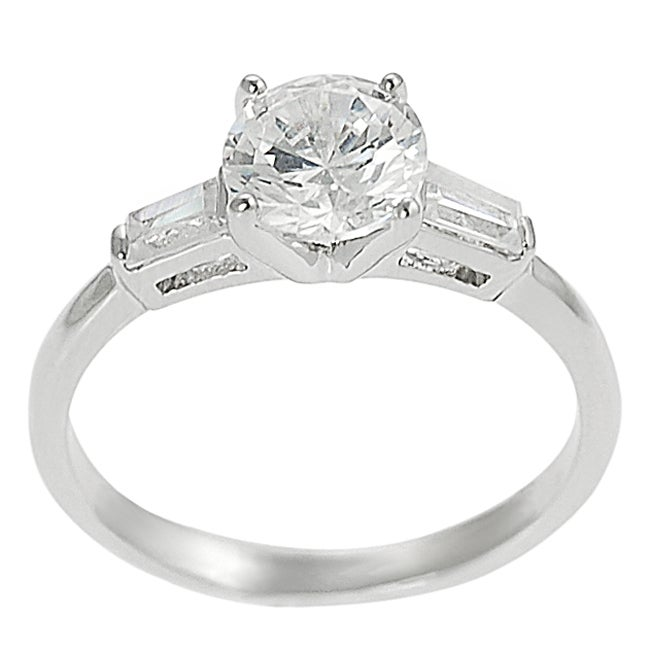 Journee Collection Silvertone Baguette- Round CZ Bridal Engagement Ring