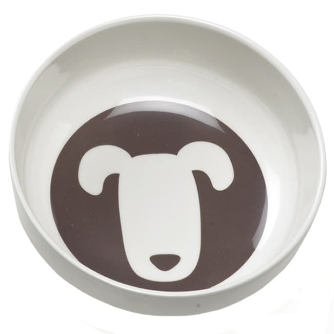 Ore Shadow Three-cup Capacity Melamine Dog Bowl in Brown/White