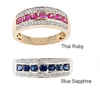 Anika and August 14k Yellow Gold Thai Ruby and 1/5ct TDW Diamond Ring (G-H, I1-I2)