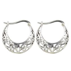 Sunstone Sterling Silver Filigree Antiqued Round Hoop Earrings