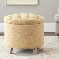 Safavieh Amelia Tufted Light Gold Storage Ottoman