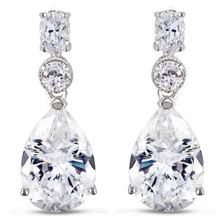 Miadora Sterling Silver Cubic Zirconia Dangle Earrings (18ct TGW)