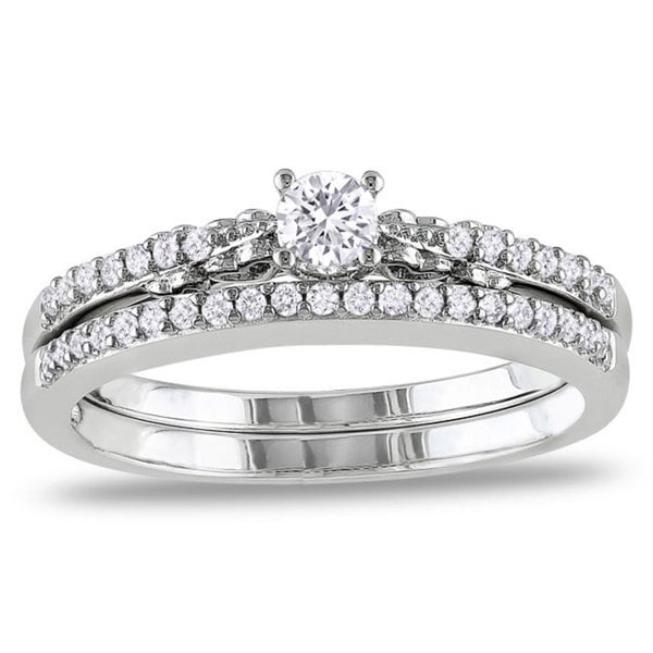 Miadora 10k White Gold 1/3ct TDW Diamond Anniversary Style Engagement Ring and Wedding Band Set