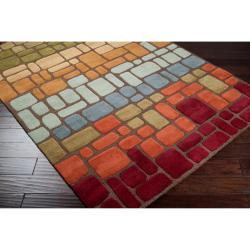 Hand-tufted Multi Colored Geometric Tile Contemporary Gorleston Wool Abstract Rug (8' x 11') - Thumbnail 1