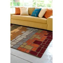 Hand-tufted Multi Colored Geometric Tile Contemporary Gorleston Wool Abstract Rug (8' x 11') - Thumbnail 2