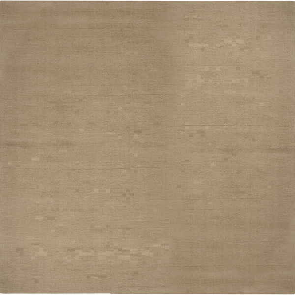 Hand-crafted Beige Solid Casual Dudley Wool Rug (9'9 Square)