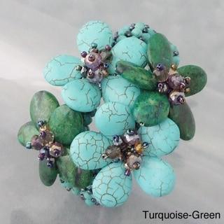 Gemstone Stone Floral Bouquet Cuff (Thailand)