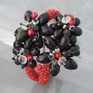 Handmade Gemstone Stone Floral Bouquet Cuff (Thailand)