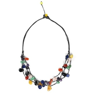 Cotton Rope Floating Multi Stone Triple Strands Necklace (Thailand)