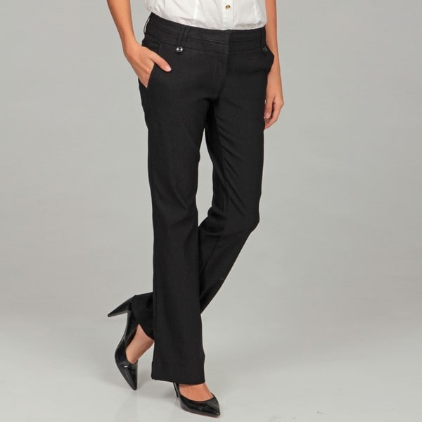 Isabella Rodriguez Women's Black Straight Leg Dress Pants - Free ...