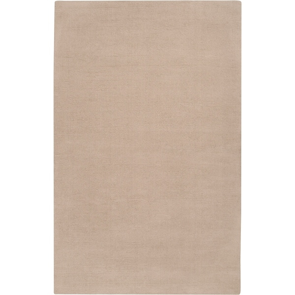 Hand-crafted Beige Solid Casual Dudley Wool Area Rug - 9' x 13'