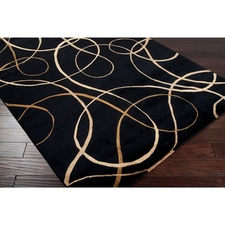 "Hand-knotted Black Contemporary Swirl Chatteris Semi-worsted New Zealand Wool Abstract Area Rug - 2'6"" x 10' Runner"