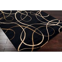 """Hand-knotted Black Contemporary Swirl Chatteris Semi-worsted New Zealand Wool Abstract Area Rug - 2'6"""" x 10'"""
