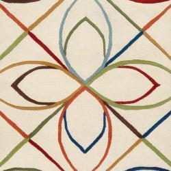 Hand-tufted Ivory Contemporary Littlehampton New Zealand Wool Geometric Rug (8' x 11') - Thumbnail 2