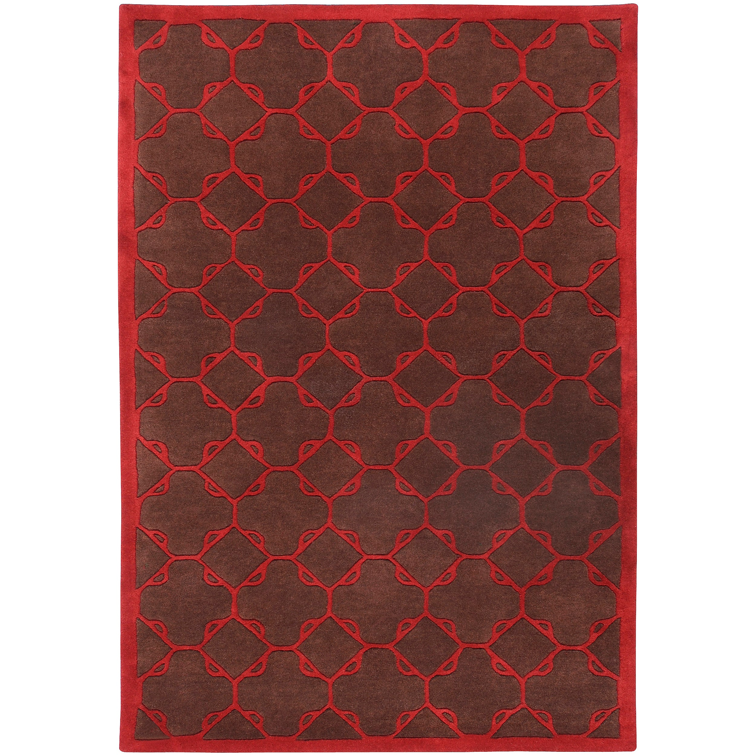 Hand-tufted Contemporary Brown/Red Floral Leyton New Zealand Wool Geometric Rug (5' x 8')
