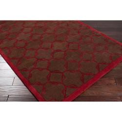 Hand-tufted Contemporary Brown/Red Floral Leyton New Zealand Wool Geometric Rug (5' x 8') - Thumbnail 1